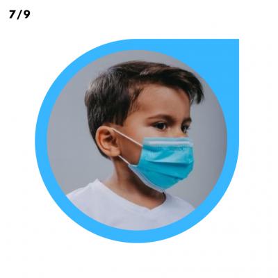MASCARA INFANTILDESCARTÁVEL C/ELAST AZUL - PCT C/50 UNI